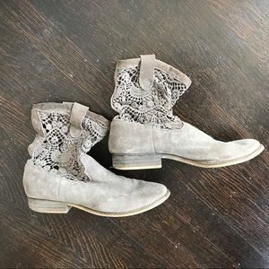 Gray Lace Suede Booties